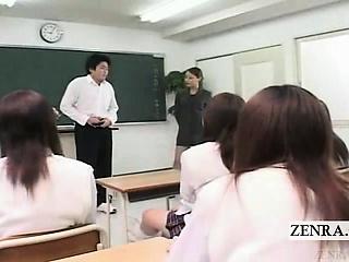 Subtitled CFNM Japanese lecture-hall masturbation show