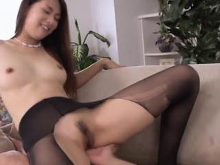 Asian ripped nylon enervating babe squirts