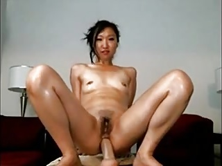 Asian Teen Rides Dildo with the brush Ass & Hairy Cunt on Webcam