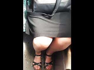 public upskirt and toes in metro asian woman
