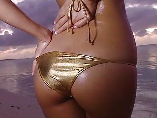 HARUKA - Oiled Up Gold Bikini Muddy Good-luck piece (Non-Nude)