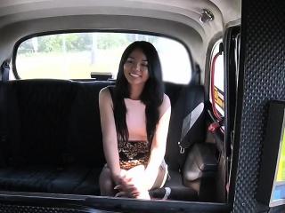 Fake taxi chauffeur bangs petite Thai babe