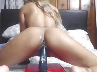 X filipina fecund in pussy riding bbc dildo on cam