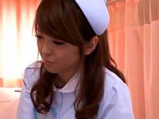 Cute nurse gives a dewy oral delight to get a reward