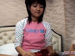 Asian hotty explores a broad dick