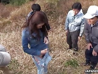 Japanese farmer girl, Maki Hojo had group making love outdoors, unce