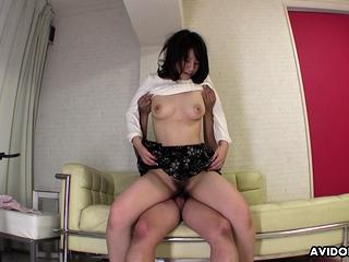 Yuka Kawashima got her hairy pussy fucked, not susceptible the sofa