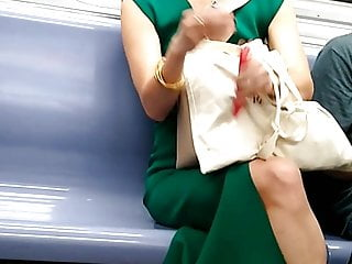 Cute Asian first of all the train careful legs pretty feet mature
