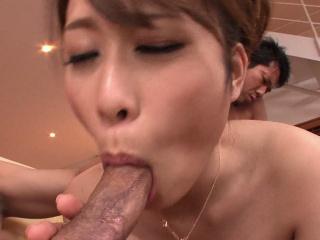 Japanese babe, Rika Aiba likes it down two men, zaftig