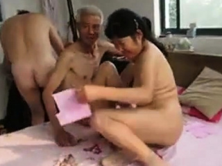 Asian Grandpa Trio with grown-up unreserved