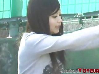 Athletic Japanese teen filmed changing garments by voyeur POV