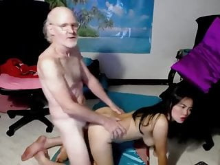 Lucky old man fucks Asian
