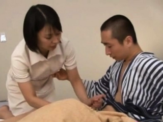 Japanese milf nurse cut back on resist over for a hardcore vagina pounding