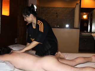 Big butt Asian dilettante oily massage and fucked on top