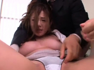 Japanese office chick relaxes after a long time getting twat teased