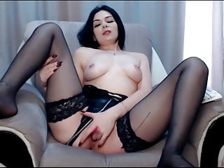 Stockings milf romantic fingering her pussy