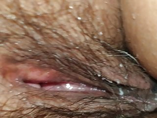 Wife's hairy pussy - close up