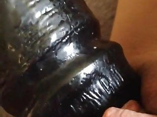 Big black dildo inside my tight-fisted asian pussy