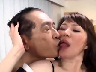 Freakish double Japanese blowjob added to hardcore fucking