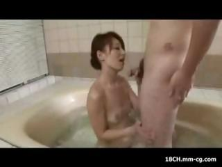 Skinny Japanese housewife with small breasts fucks her stepson