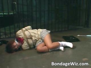 Tied up Asian slut nearly ropes sucks dick part3